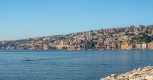 Lungomare -  seashore of Napoli along the  touristic harbor of Mergellina Royalty Free Stock Image