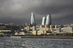 Lungonmare nella città di Bacu l'azerbaijan fotografia stock