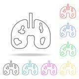 lungors cancer Beståndsdelar av mänsklig död i mång- kulöra symboler Högvärdig kvalitets- symbol för grafisk design Enkel symbol  vektor illustrationer