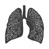 Lungs black vector icon. M vector illustration