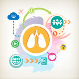 Lungs and cloud on abstract colorful water color background Royalty Free Stock Photos