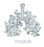 Lungs with flowers illustration for the card or poster, freedom concept. Royalty Free Stock Images