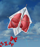 Lungs Freedom. And clean air quality concept and healthy breathing in a pollution free environment represented by human lungs as a flying kite in a sky vector illustration
