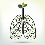 Lungs with Green leaf. Black outline vector illustration. Stock Image