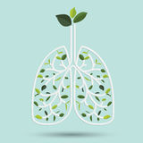 Lungs with Green leaf. Gray outline vector illustration Stock Photo