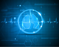 Lungs and heart beat. Monitoring line. Scientific and medical wallpaper. Concept of new medical technologies Royalty Free Stock Images