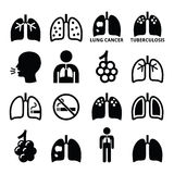 Lungs, lung disease icons set - tuberculosis, cancer Stock Image