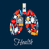 Lungs made of medicine or medical icons. Medicine icons in form of lungs. Tooth and adhesive bandage or plaster, thermometer and blood pack, heart with pulse Stock Images