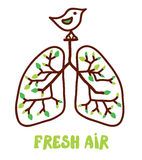 Lungs and nature - illustration for the fresh air Stock Photography