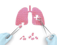Lungs operation (medicine puzzle concept) Stock Photography