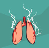 Lungs with smoke. Smoking harm poster. Damaged organ. Anti tobacco vector illustration. Royalty Free Stock Photo