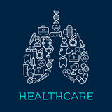 Lungs symbol created of medical, healthcare icons. Human lungs symbol created of medical icons for healthcare design usage with doctors and ambulance Royalty Free Stock Photo