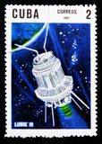 Lunik 3, 10mo Ana Del lanzamiento del primer serie del satélite artificial, circa 1967 Imagenes de archivo