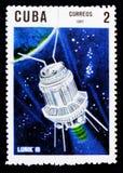 Lunik 3, 10th Ann Av lanseringen av den första serien för konstgjord satellit circa 1967 Arkivbilder