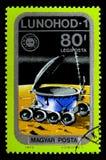 Lunokhod 1 op Maan, Airpost, Ruimtevaartuig en Apollo Soyuz Emblem Royalty-vrije Stock Fotografie