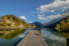 Lunz am See in autumn, Mostviertel, Lower Austria, Austria,. Lunz am See is a market town in the district of Scheibbs in Lower Austria in Austria. The place is royalty free stock photo