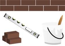 Luogo in costruzione con il livello, la benna e wal Fotografia Stock