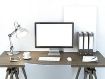 Luogo di lavoro con il monitor del computer Immagine Stock Libera da Diritti