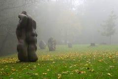 Luogo santo in Sigulda. Santuari nella nebbia immagini stock libere da diritti