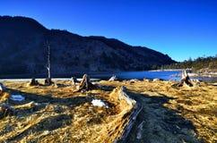 Słońce góry jeziora Zdjęcia Stock