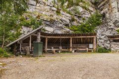 Luosto Finland, camp and resting place. With saloon on a moody summer day stock photo