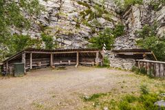 Luosto Finland, camp and resting place. With saloon on a moody summer day royalty free stock photos