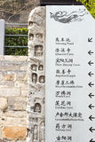 LUOYANG, CHINA-MARCH 14: Guide banner of carving at Longmen Grot Royalty Free Stock Photos