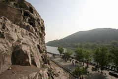 Luoyang Longmen Grottoes. View across the landscape at Longmen Grottoes in Luoyang, China royalty free stock photography