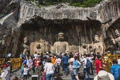 Luoyang Longmen grottor i Henan, Kina Fotografering för Bildbyråer