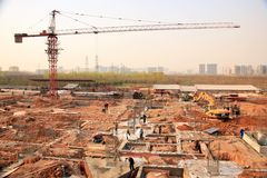 Luoyang LongMen Railway Station construction project in Zhengxi high speed railway stock photography
