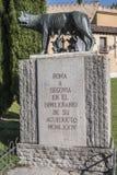 Lupa Capitolina statue at the foot of Aqueduct of Segovia Royalty Free Stock Photos