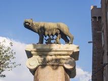 Lupa che alimenta Remus e Romulus Fotografia Stock Libera da Diritti