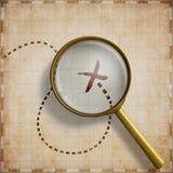 Lupa com lugar marcado na ilustração velha do mapa 3d Imagem de Stock Royalty Free