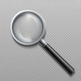 Lupa 3d realística Lente de aumento da lente zoom do vetor isolada no fundo transparente ilustração do vetor