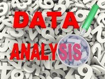 lupa 3d y análisis de datos stock de ilustración