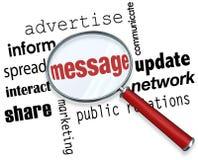 A lupa da mensagem exprime a interação do mercado da propaganda Imagens de Stock Royalty Free