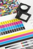 Lupa de la impresión en prueba Foto de archivo