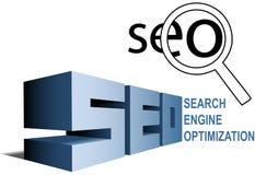 Lupa de la optimización del Search Engine de SEO Fotografía de archivo libre de regalías