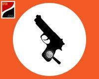 Lupa de la pistola del icono con la huella dactilar fotos de archivo libres de regalías