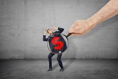 Lupa de la tenencia de la mano del hombre en el poco estómago del hombre de negocios con símbolo rojo del dólar en él fotografía de archivo libre de regalías