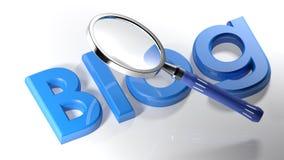 Lupa en el blog azul - representación 3D Imágenes de archivo libres de regalías