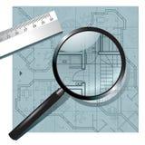 Lupa en el proyecto arquitectónico libre illustration