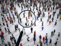Lupa en un grupo de personas grande representación 3d libre illustration