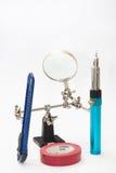 Lupa, gazu lutowniczy żelazo, skalpel i izolowanie taśma, Obrazy Stock