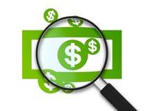 Lupa - nota do dólar Fotografia de Stock