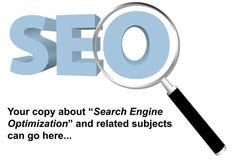 Lupa optimizada Search Engine de SEO Imagenes de archivo