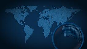 A lupa procura e encontra a cidade de Melbourne no mapa do mundo pontilhado Animação da introdução ilustração stock
