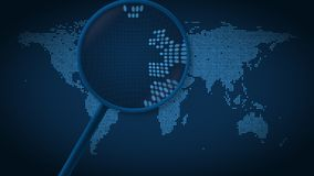A lupa procura e encontra a cidade de Paris no mapa do mundo pontilhado Animação da introdução ilustração stock