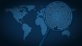 A lupa procura e encontra a cidade do Pequim no mapa do mundo pontilhado Animação da introdução ilustração do vetor