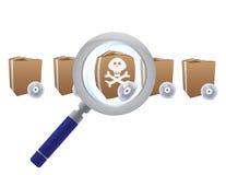 Lupa que busca para el virus Fotos de archivo libres de regalías